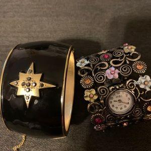 Bangle style bracelet & a watch